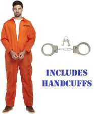 PRISONER CONVICT Inmate Jumpsuit Boiler Suit Fancy Dress Costume Uniform Stag