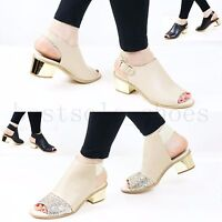 Women Ladies Mid Block Heel Sandals Peep Toe Ankle Strap Comfy Summer Shoes Size