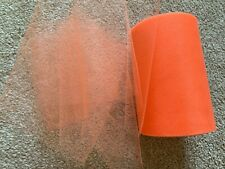 5m of 150mm Wide Soft Nylon Neon Orange Tulle Netting Fabric Wedding/Tutu/Crafts