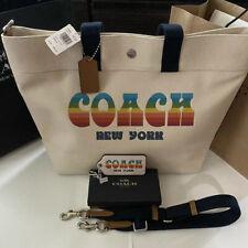 2pc COACH Logo Rainbow Canvas XL Tote & Matching Bag Charm NWT🌈