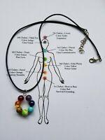 7 Chakra Necklace Pendant Beads Healing Gemstones Crystals Yoga Reiki Anxiety