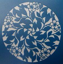 Scrapbooking - STENCILS TEMPLATES MASKS SHEET - Leaf and Flowe Circle Stencil