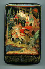"""Russian Lacquer box  Palekh """"The Tale of the Ivan Tsarevich."""" Hand Painted"""