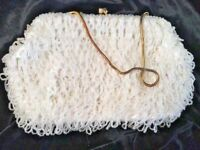 Vintage White Beaded Sequined Bag Purse Made for Broadway British Hong Kong