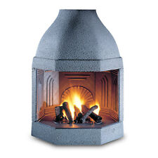 Wood Burning Fireplace Ghisafort Octagon, Made in Italy, Cast Iron Insert