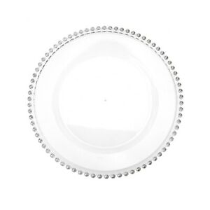 Beaded Edge Clear Plastic Charger Plate, 12-1/2-Inch, 1-Count