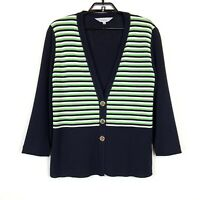 Exclusively Misook Striped Button Front Knit Cardigan Jacket Lg Blue Green White