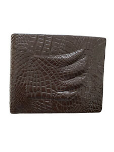 Brown Mens Wallet With Crocodile Hand On Front Cover Compartments 100% Leather