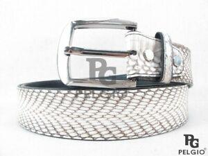 """PELGIO Genuine Cobra Snake Skin Leather Casual Men's Belt 46"""" Long Natural White"""