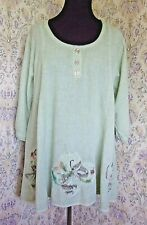Green loose fitting lightweight cotton top 18 - 20 Floral appliqué Made in Italy