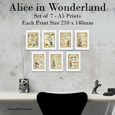 Alice in Wonderland Print Set of 7 Photo Picture Prints Home Wall Art Size A5