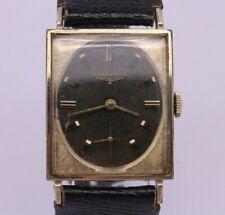 VINTAGE Longines Mens 10k Gold Filled Rectangular Dress Watch Black Dial cal.370
