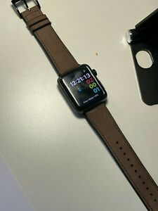 Apple Watch Series 3 42mm Black SS Case GPS-Cellular Leather Band-Box(MQK92LL/A)