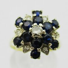 Lovely 18ct Gold Sapphire & Diamond Cluster Ring. Size L1/2