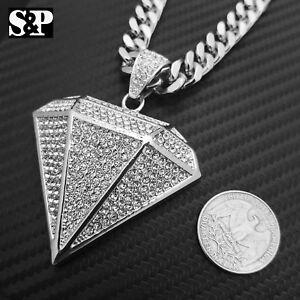 """White Gold PT Big Diamond Shape Pendant & 10mm 30"""" Cuban Chain Hip Hop Necklace"""