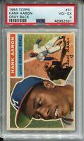 1956 Topps Baseball #31 Hank Henry Aaron Card Gray Back Graded PSA 4 Braves