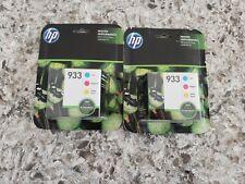 LOT 2 HP 933 Tri-Color Ink Cartridges Genuine N9H56FN Std Yld Jan 2020 Exp NEW