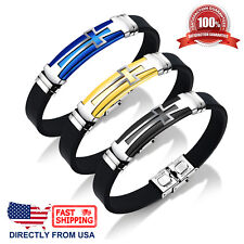 Men's Stainless Steel Cross and Black Silicone Bracelet