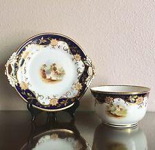 Antique John Ridgway Porcelain Painted Landscape Cake Plate & Waste Bowl 1855