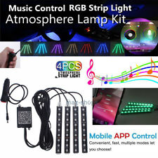 9 LED Car Atmosphere RGB Phone App Music Control Strip Inside Lights Interior