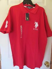 NWT Men's U.S. POLO ASSN. RED WHITE SHORT SLEEVE POLO SHIRT size LARGE Logo