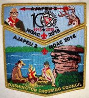 AJAPEU 2 WA CROSSING 2-PATCH GMY 3D DEVILS TEA TABLE OA 100TH ANN 2015 NOAC FLAP
