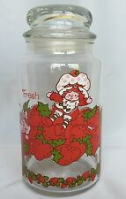 1980 Strawberry Shortcake And Custard Cat Glass Jar Canister With Lid 8 1/2 Inch