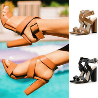 Womens Ankle Strap Block Heel Sandals Ladies Strappy Buckle Prom Party Shoes New