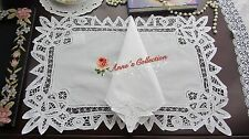 12 SETS~Battenburg Lace Placemat&Napkin~White~Cotton~Wedding/Banquet/Holiday~