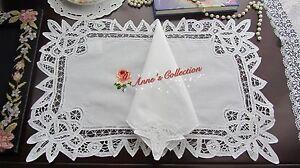 12 SETS~Battenburg Lace Placemat&Napkin~White~Cotton~Wedding/Banquet/Holiday~