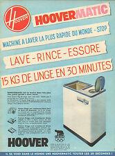 Publicité 1960  HOOVERMATIC machine à laver la plus rapide du monde HOOVER