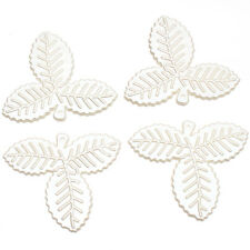 20pcs White Leaves Plants Acrylic Charms Pendants Findings For Craft Ornaments J