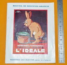 1931 RECUEIL RECETTES VERRINES A CONSERVES L'IDEALE VERRERIES DES ISLETTES