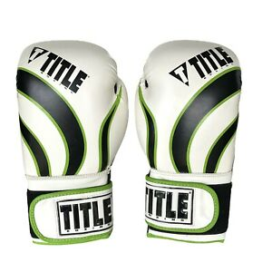 Title Boxing Gloves Aerovent Infused Foam Impact Regular Size Green/White/black