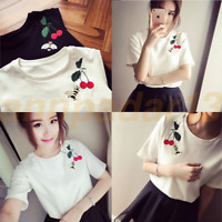 Women Summer Short Sleeve Round Neck Cherry Embroidery Casual Loose T-Shirt Tops