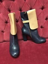 Jilsander Navy Blue And Beige Leather Cuffed Foldover Boots 41 New $1250