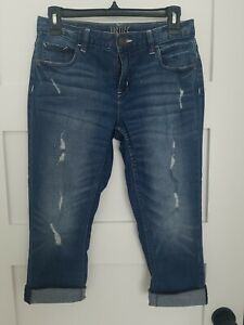 JUSTICE Girls Distressed Ripped Stretch Rolled Crop CapriJeans Wash size 12 plus