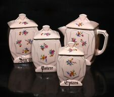 Vintage French Pink Canister and Coffee Pot Set, 4 pcs