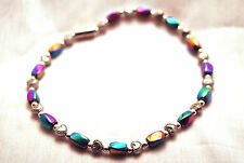 Hearts Magnetic Therapy Anklet: 4 Pain! Ladies 10 In Rainbow Hematite & Silver