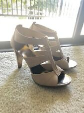 MICHAEL KORS Berkley T-Strap Python Embossed Leather Sandals Heels Size 9 M