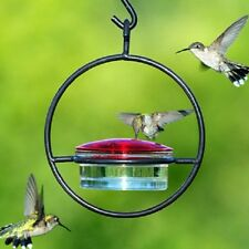 "Hummingbird Feeder Glass and Metal Hanging Sphere 7"" Tall Simple Easy Cleaning"