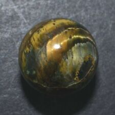 """Tiger Eye Marble Vintage Iron Hand Ground Banded Agate Natural 13/16"""" Mar448"""