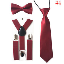 Toddlers Baby Girls Boy Kids Suspenders Tie Bowtie Butterfly Bow Set Clip on#