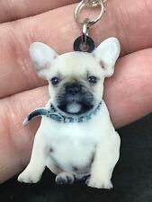 "Dog French Bulldog Enamel Double-sided Tibetan Silver 18"" Necklace D-1538"
