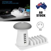 5 Ports USB Charger AC Adapter Home Desk USB Hub LED Light Charging Station