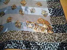 Lg c1960 Vintage Beautiful SCARF Leopard Tiger Jungle Cat Attic Find Tablecloth