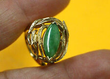 RCO Unique Vintage real 14k yellow GOLD Ring with Green jade current size 4.75