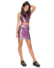 NEW Motel Rocks Gunmetal Pink Hologram Kimmy Pencil Skirt XS