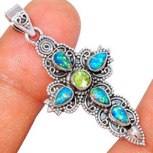 Cross - Peridot & Fire Opal 925 Sterling Silver Pendant Jewelry BP79883