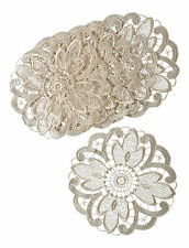 "Pack of 6 Cream Floral Lace 10"" Round Doilies Traditional Table Dressing Doyleys"